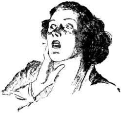 Monochrome drawing of a shocked woman looking off to right with her right hand against her face.