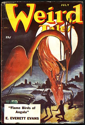 "E. Everett Evans - Evans's ""Flame Birds of Angala"" was the cover story in the July 1951 Weird Tales"