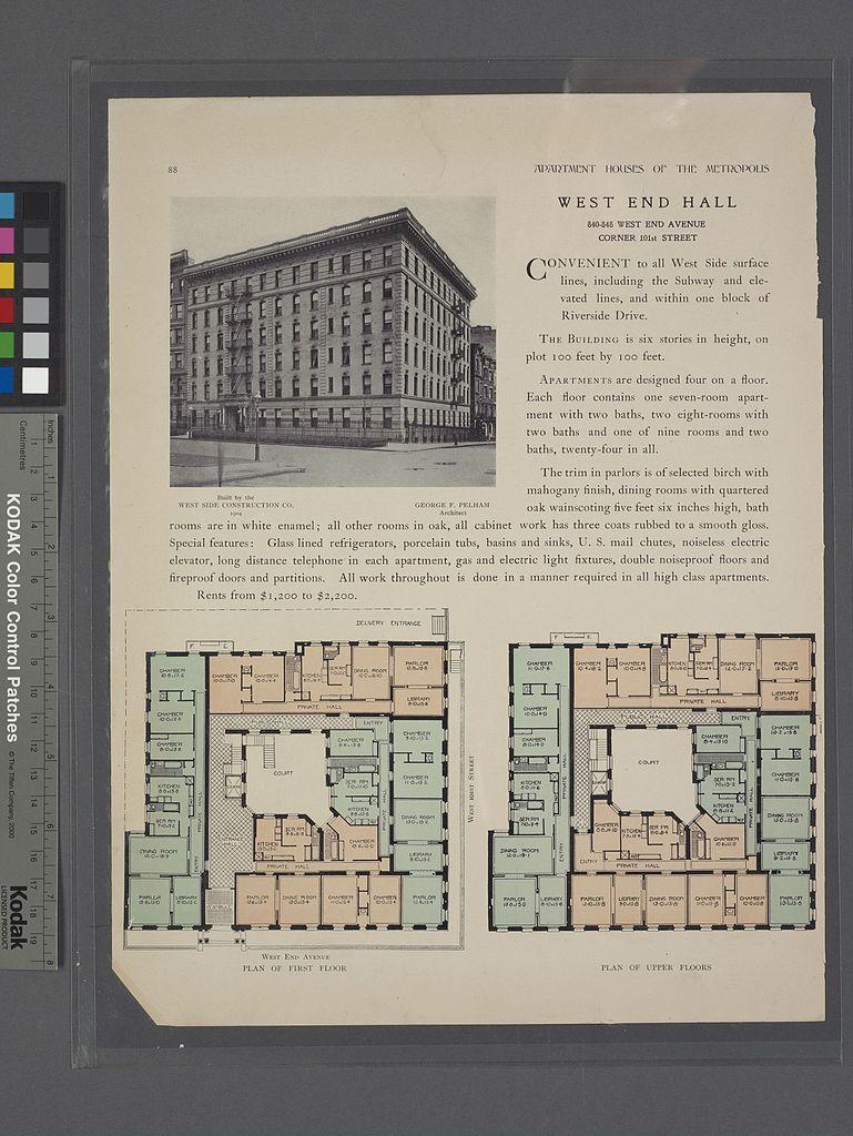 Filewest End Hall 840 848 West Avenue Corner 101st Street Schematic Diagram 7230 5428 Pixels