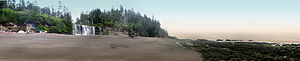 A panorama of the Tsusiat Falls campground on ...