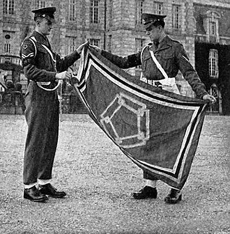 Western Union (alliance) - NCOs of the Corps of the Royal Military Police displaying the Western Union Standard outside Château de Courances
