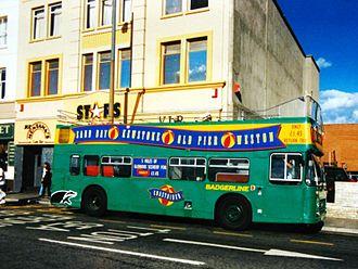 Open top buses in Weston-super-Mare - Bristol VRT 8622 in green Badgerline livery with Coastrider branding