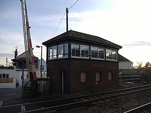 Disused railway stations on the Bristol to Exeter Line - The Puxton station signal box has been retained to operate the level crossings here and at nearby Hewish.