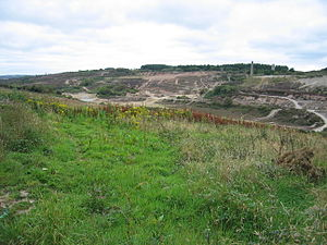 Gwennap - View of the now defunct Wheal Unity mine to the east of St. Day. This image shows the badly scarred landscape of the area.