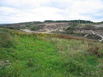 Gwennap - View of the now defunct Wheal Unity mine to the east of St Day. This image shows the badly scarred landscape of the area.