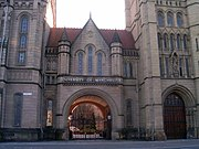 The university's Whitworth Hall. This archway was the inspiration for the logo of the Victoria University of Manchester