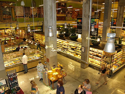 The Whole Foods Market on Bowery, in Manhattan, is the largest grocery store in New York City. Whole Foods Market in the Lower East Side of New York.jpg