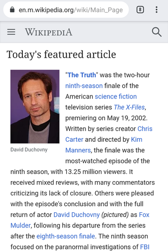 The mobile version of the English Wikipedia's main page, from August 3, 2019 Wikipedia on Mobile screenshot 2019.png