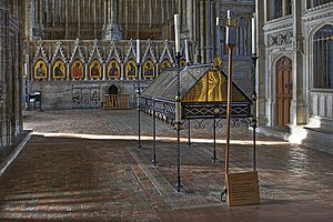 Swithun - St Swithun's memorial shrine in the retrochoir of Winchester Cathedral where the saint's relics were originally kept