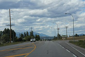 Windermere, British Columbia - Looking northwest on BC 93 / BC 95 at Windermere
