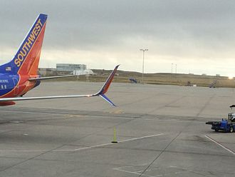 Aviation Partners Inc. - The Split Scimitar design as seen at Denver International Airport on a Boeing 737 of Southwest Airlines.