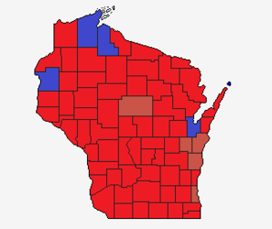 Wisconsin gubernatorial election, 1918 County Results.png