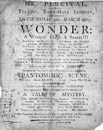 Susanna Centlivre - Poster for 1807 production of Centlivre's The Wonder: a woman keeps a secret