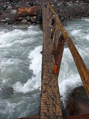 English: Log bridge crossing the Nisqually Riv...