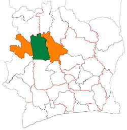 Location of Worodougou Region (green) in Ivory Coast and in Woroba District