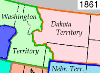 Wyoming Territory - The northern Rockies after the formation of the Dakota Territory from Nebraska Territory, in 1861