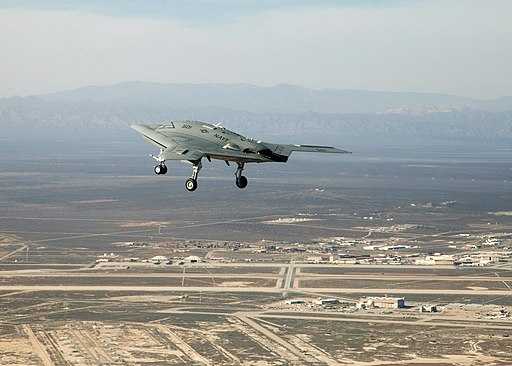 X-47B over Edwards on maiden flight (110204-F-9126Z-649)