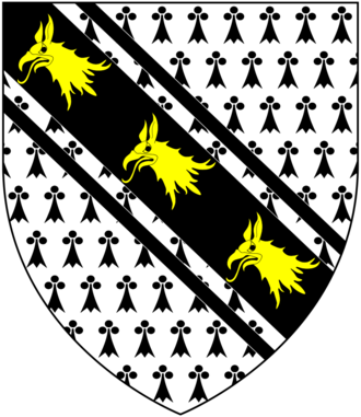 Sir John Yonge, 1st Baronet - Arms of Yonge: Ermine, on a bend cotised sable three griffin's heads erased or