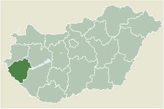 Nova, Hungary - Location of Zala county in Hungary