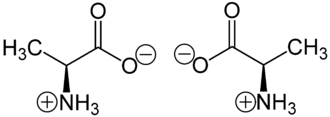 Chirality (chemistry) - (S)-Alanine (left) and (R)-alanine (right) in zwitterionic form at neutral pH