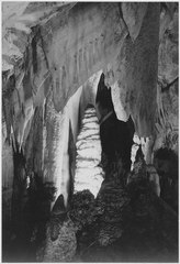 """Formations, stalagmites in the 'Queen's Chambers,' Carlsbad Caverns National Park,"" New Mexico. (vertical orientation), - NARA - 520039.tif"