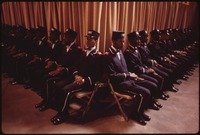 """THE FRUIT OF ISLAM"", A SPECIAL GROUP OF BODYGUARDS FOR MUSLIM LEADER ELIJAH MUHAMMAD, SIT AT THE BOTTOM OF THE... - NARA - 556246.tif"