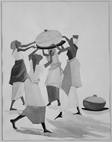 Black and white drawing of women of African American descent holding a large pot together above their heads