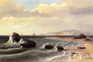 'An American Shore Scene' by Thomas Birch, 1827.jpg