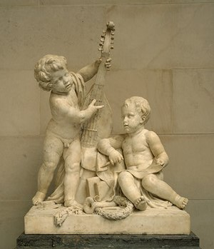 Claude Michel - 'Poetry and Music', marble sculpture by Claude Michel, 1774-1778, National Gallery of Art, Washington, D. C.