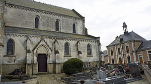 Avançon, Ardennes - View of the Church, cemetery, and town hall