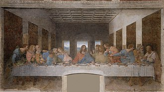 Apostles - The Last Supper, a late 1490s mural painting by Leonardo da Vinci, is a depiction of the last supper of Jesus and his twelve apostles on the eve of his Crucifixion. Santa Maria della Grazie, Milan.