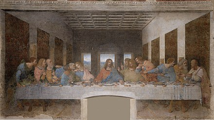 The Last Supper, a late 1490s mural painting by Leonardo da Vinci, depicting the last supper of Jesus and his twelve apostles on the eve of his crucifixion. Most apostles are buried in Rome, including Saint Peter. Ultima Cena - Da Vinci 5.jpg