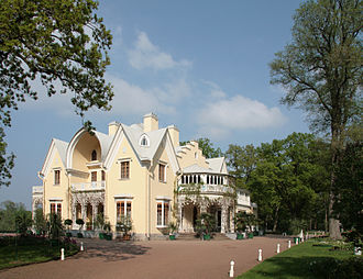 "Petergof - ""Cottage"" built in 1829 in Alexandria Park in Petergof was a summer residence of Russian Emperor Nicholas I."