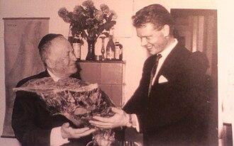 Shmuel Yosef Agnon - Agnon (left), receiving the Nobel Prize, 1966