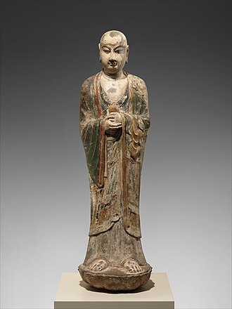 Ānanda - 8th-century Chinese limestone sculpture of Ānanda
