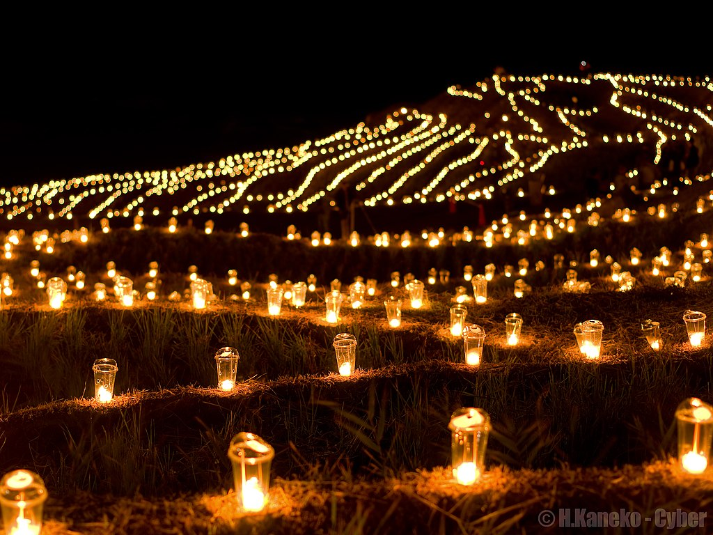 白米千枚田万燈まつり (Candle night at Hakumai Senmaida) 19 Oct, 2013 - panoramio