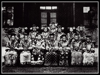 Empress Dowager Cixi - Photograph of Princess Rongshou (center seated), Prince Gong's daughter. As a way to show gratitude to the prince, Cixi adopted his daughter and elevated her to a first rank princess (the highest rank for imperial princesses).