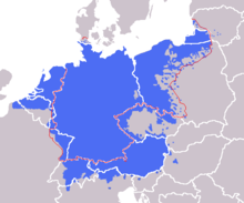 german language area here including dutch frisian and luxembourgish based on 19th century language maps with close german language islands shown with