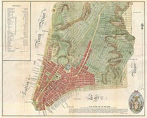 "Commissioners' Plan of 1811 - The Mangin-Goerck Plan of 1801; the ""warning label"" can be seen at the bottom under ""Plan of the City of New York"""