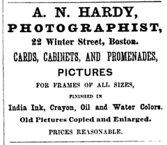 1875 A N Hardy photographer advert 22 Winter Street in Boston.png