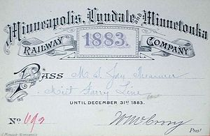 Lyndale Railway Company - 1883 Pass of Minneapolis, Lyndale and Minnetonka Railway Company