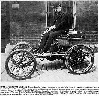 Thomas B. Jeffery - Thomas B. Jeffery and his 1897 Rambler prototype