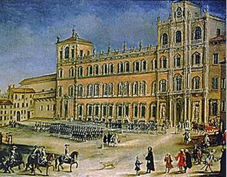 Ducal Palace of Modena - Image: 18th century canvas painting of the Ducal Palace of Modena by an unknown artist