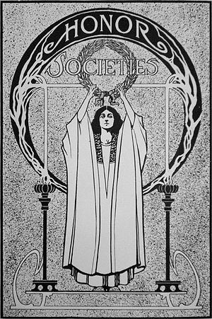 "Honor society - ""Honor Societies"", illustration from the 1909 Tyee (yearbook of the University of Washington)"