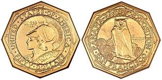 Panama–Pacific commemorative coins - Robert Aitken's octagonal $50 piece