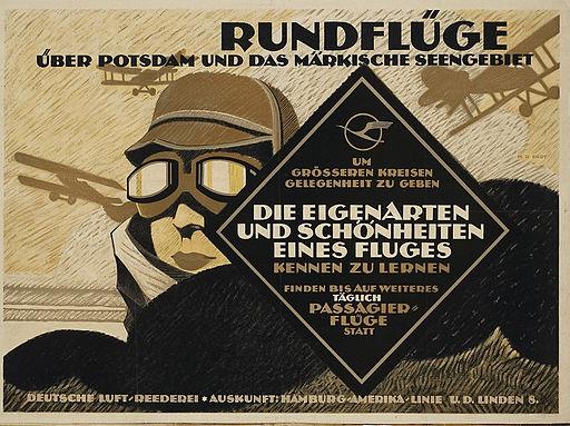 1919 Deutsche Luft-Reederei Plakat Rundflüge über Potsdam und das Märkische Seengebiet, Hans Rudi Erdt, Otto Firle