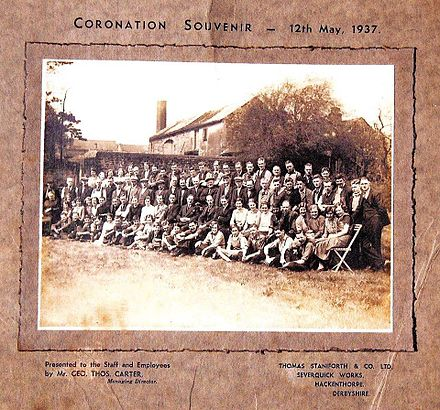Coronation Souvenir Photo presented to employees 12 May 1937 1937 Souveneir Photo showing Thomas Staniforth & Co. Workers in Hackenthorpe, Sheffield.jpg