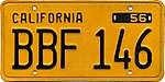 1956 California license plate BBF 146.jpg