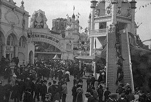 Escalator - Early escalator, Luna Park, Coney Island, 1909.