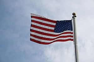 Flag of the United States of America viewed ba...